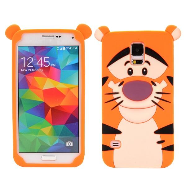 Gumený kryt 3D Cute Tiger na Samsung Galaxy S5 - oranžová eb527791159